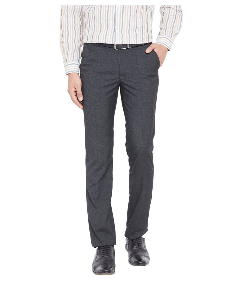 Canary London Grey Slim -Fit Flat Trousers