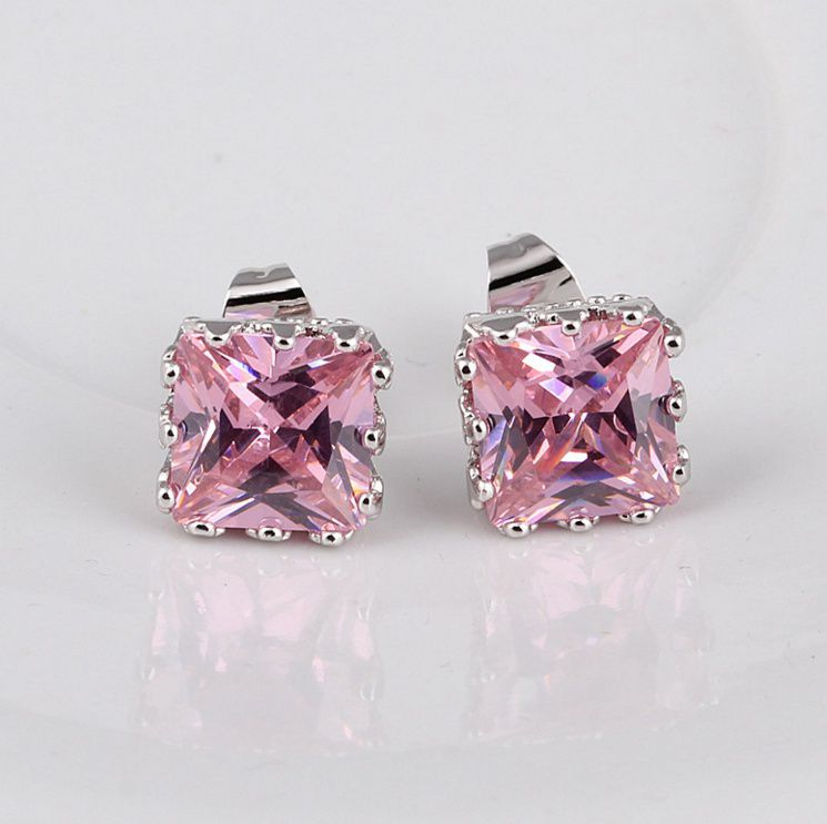 Charming Jewelry 925 Sterling Silver Pink&topaz Stud Earring