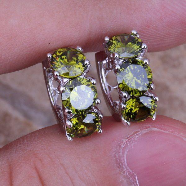 Fashion Jewelry 2.40 TCW CZ Emerald zircon Gemstone 925 Sterling Silver Hoop Earring