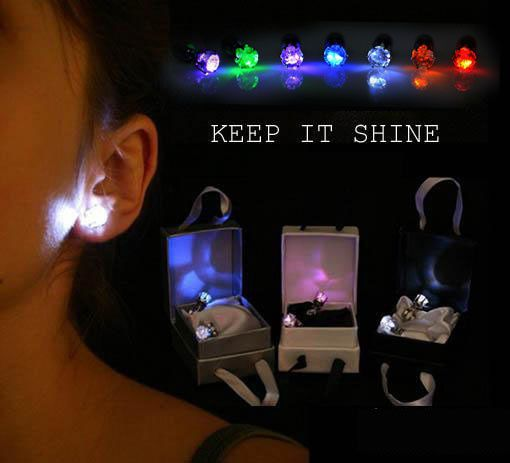 One Pair Light Up LED Stainless Steel Earrings Ear Studs Dance Party Accessories