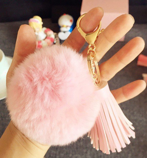 Rabbit Fur Ball Leather Tassel/Bow Gold Plated Key chain Fluffy Car Keychain For Girls Lady (Color:Pink)