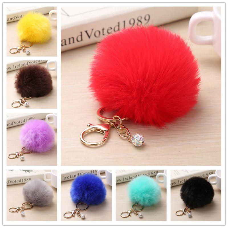 Rabbit Fur Fluffy Pompom Ball Handbag Car Pendant Charm Key Chain Keyrings 8CM
