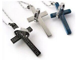 Stainless Steel Men's Fashio Women's Fashion Cross W. Lord's Prayer in English and Cubic Zirconia Pendant Necklace