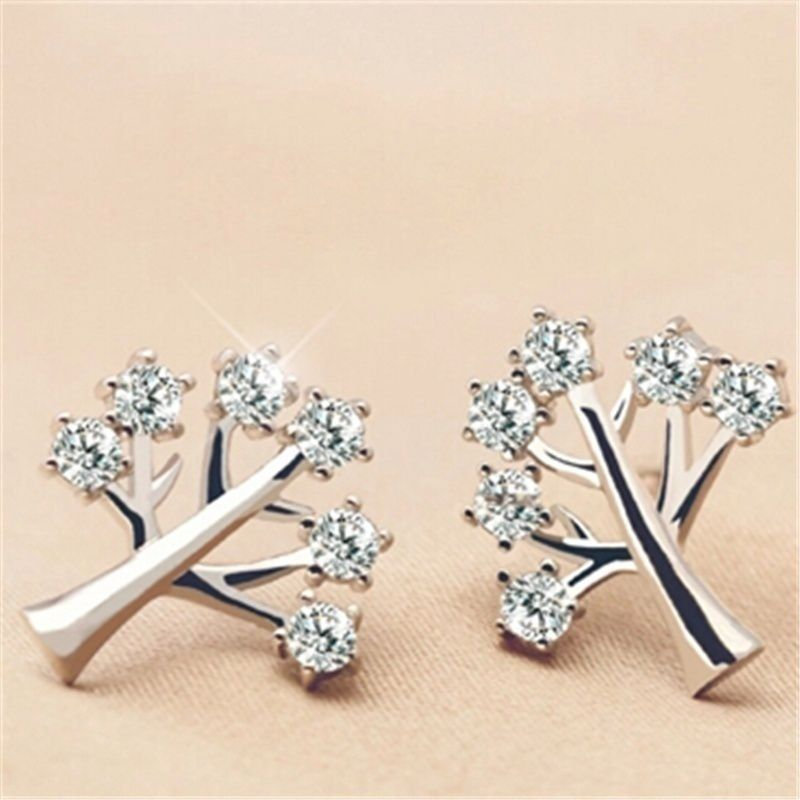The Tree of Life Stud Earrings with Cubic Zirconia in Silver for Fashion Lady