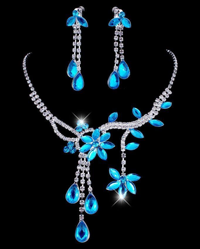 Wedding Bridal Flower Leaf Rhinestone Crystal Necklace Drop Earrings Jewelry Set AIR
