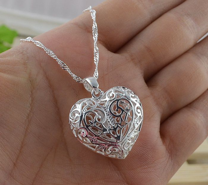 Women Fashion Jewelry 925 Sterling Silver/gold/rose gold/black/Heart Flower Pendant Necklace Water Wave Chain(16