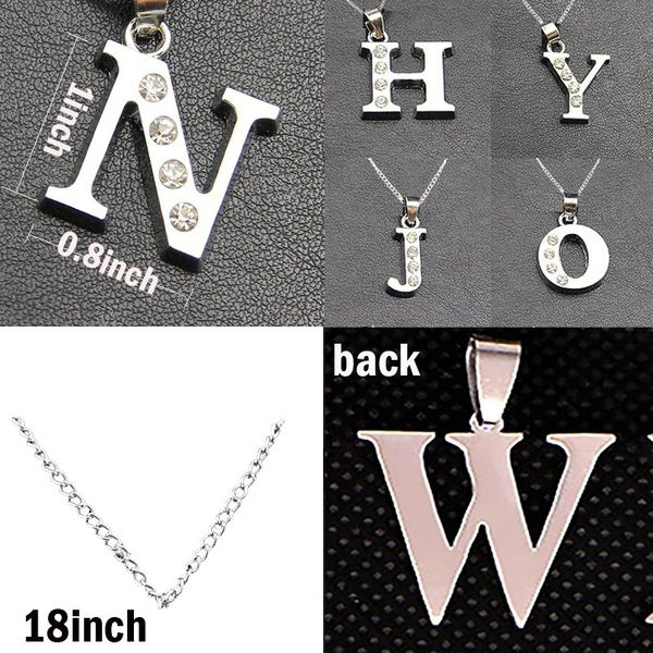 26 Letters Charm Pendant Necklace Women Simple Necklace Silver Initial Choker