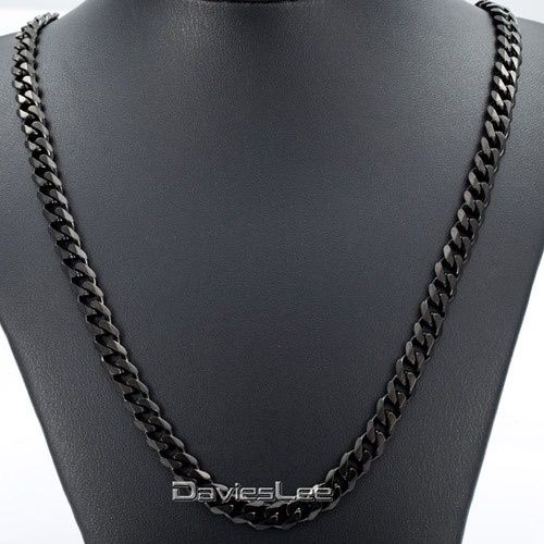 Davieslee 7mm Wide Mens Necklace Curb Cuban Silver Stainless Steel Chain Necklace