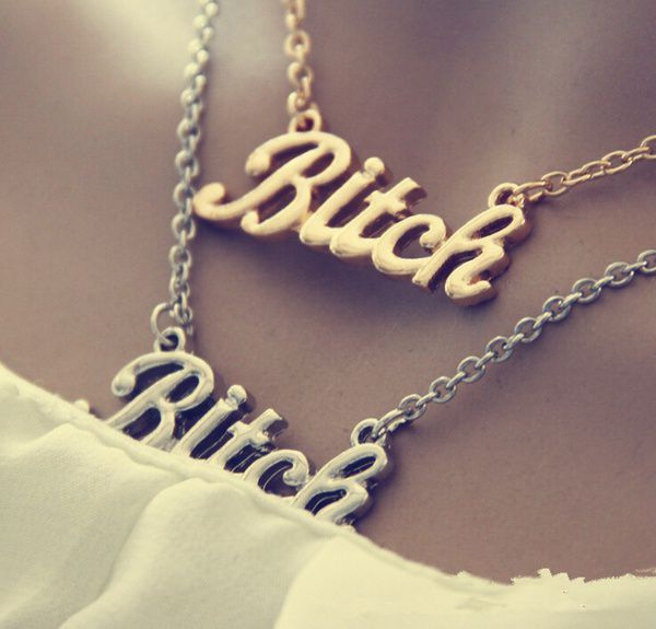 European Letter Best Bitch Chunky Chain Choker Necklace Punk Gothic Pendant Jewelry Gift Gold/Silver WIJI