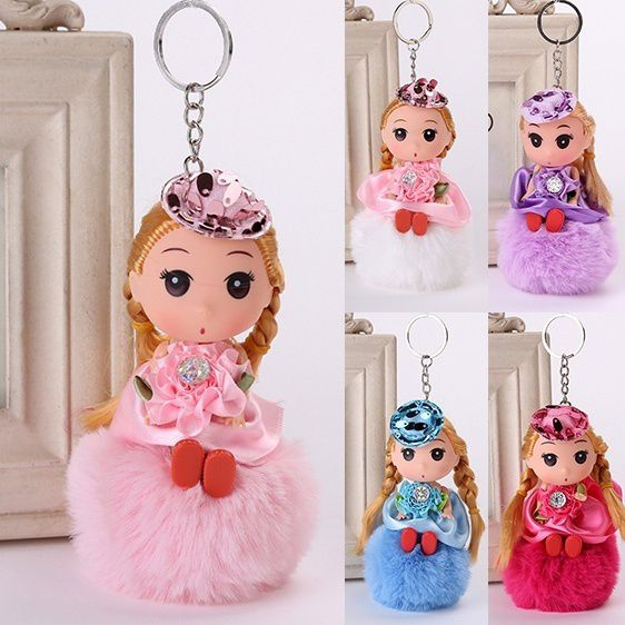 Fluffy Cute Princess Plush Doll Key Ring Pendant Bag Hanging Decor Accessories