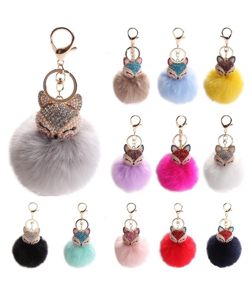 Jewelry 15 Colors Car Keychain Fox Fur Ball With Artificial Fox Inlay Pearl Rhinestone Key Chain Cool Gifts Key Women