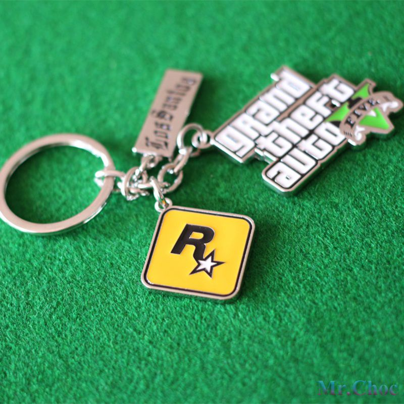 Mr.Choc Newest GTA5 Keychains Alloy Key Rings Games Pendants Grand Theft Auto V Memorial Gifts