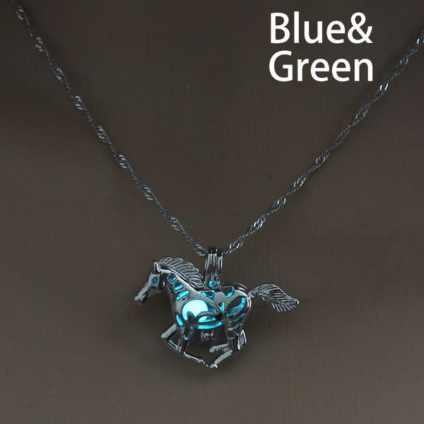New Design Creative Horse Luminous Alloy Pendant Necklace Silver Water Waves Chain Hollow Necklaces Women Simple Casual Jewelry