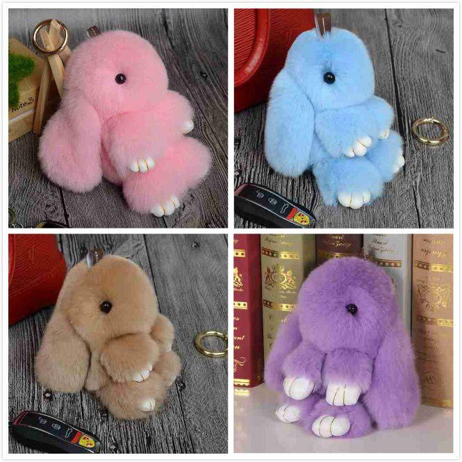 Rabbit Keychain Cute Fluffy Bunny Keychain Rex Genuine Rabbit Fur Pompom Key Ring Pom Pom Toy Key Holder