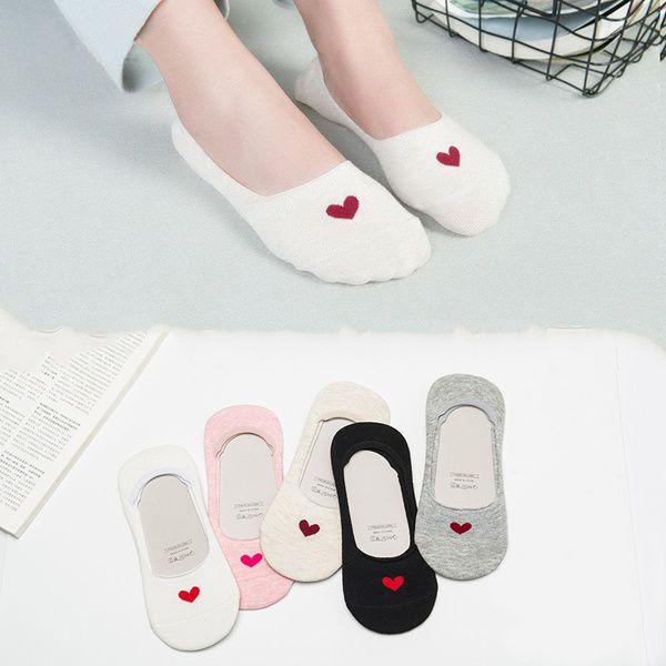 2 Pairs Summer Women Comfortable  Cotton Ship Sock Short Socks Fashion Heart Ankle Socks