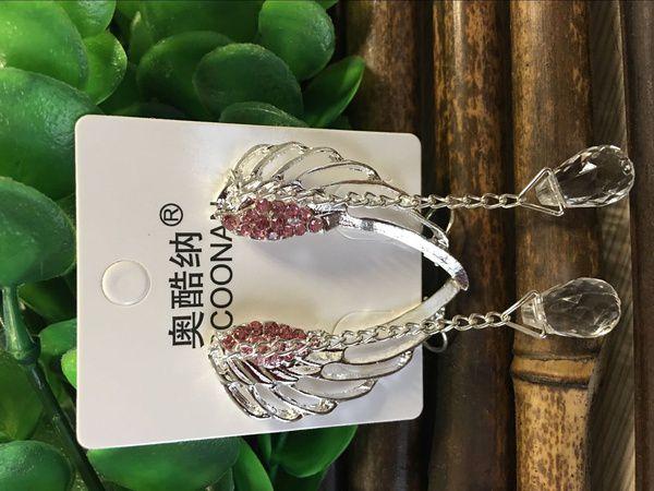 925 Sterling Silver Angel Wing Stylist Crystal Earrings Drop Dangle Ear Stud For Women Long Cuff Earring ER623