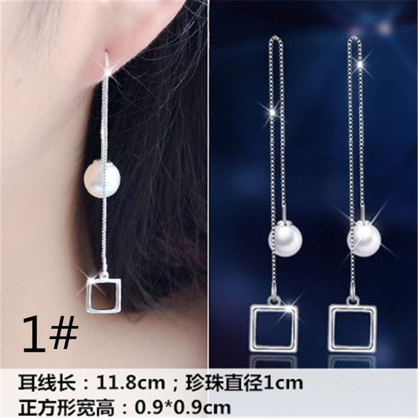 Fashion lady Long All-match Earrings Personality Asymmetric Tassel Earrings Sterling Silver Earrings Female Anti Allergy