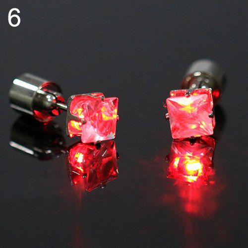 Unique boys girls LED Light Christmas Gift Halloween Party Square Night Bling Studs Earrings fashion jewelry