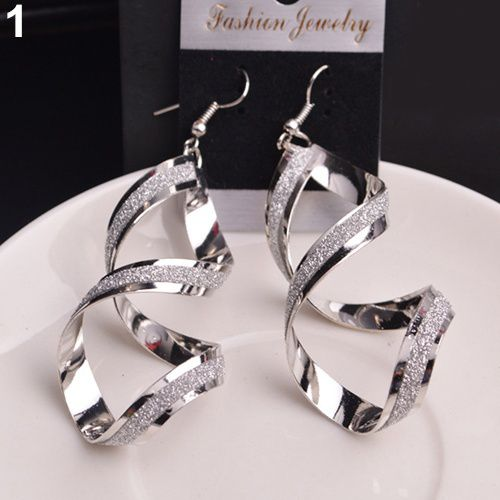 Women's fashion Alloy Dull Polish Spiral Drop Hook Dangle Eardrop Earrings Jewelry