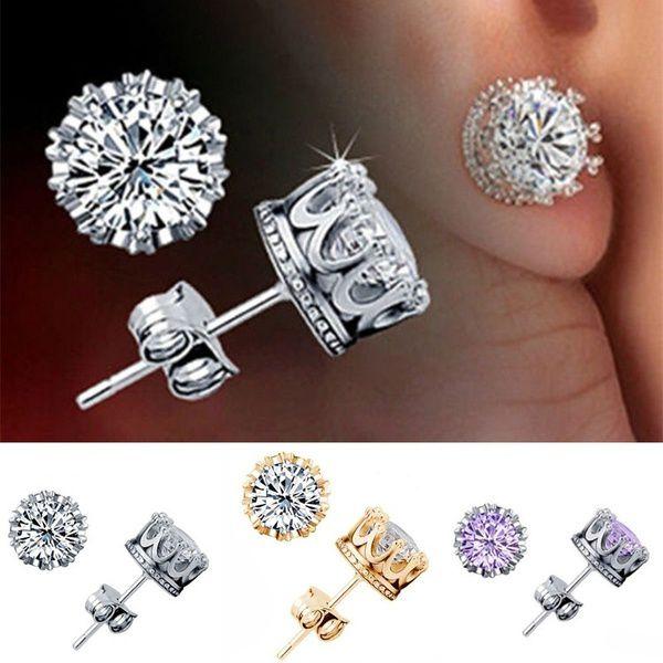 1 Pair Women's Fashion Elegant Retro Classical 925 Silver White/Purple Zircon Crown Ear Stud Earrings Jewelry