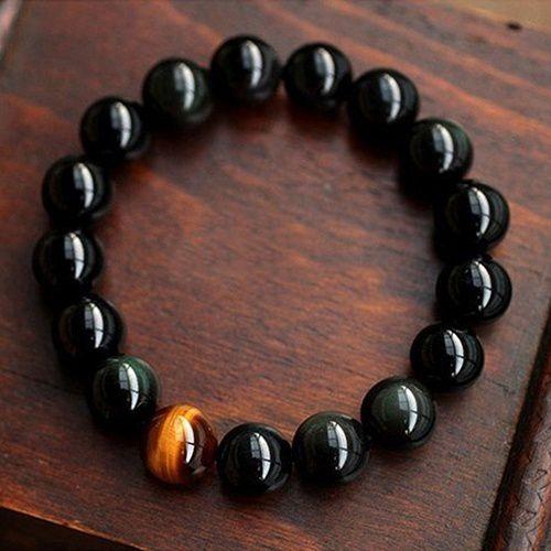 Unique Men's Women's Vintage Style Jewelry Agate Tiger Eye Beads Bangle Bracelet Gift
