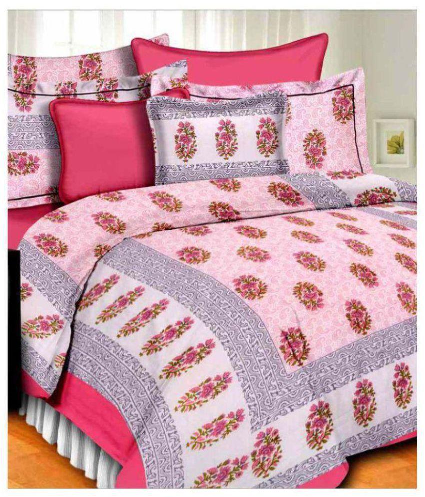 PRATAP CREATIONS Cotton Double Bedsheet