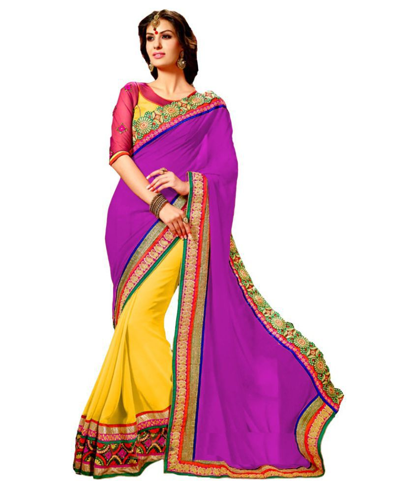 Wkart Yellow and Pink Georgette Saree