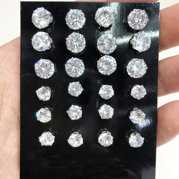 12Pairs/ Set Geometric Crystal Wedding Elegant Stud Earrings Set Charm Simple Women Alloy Silver Zircon Earring Sets Jewelry Accessories Gifts