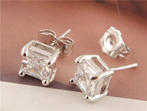 925 Sterling Silver Nice Clear Square Cubic Zirconia CZ Stud Earrings