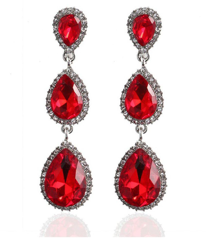 Elegant Earring for Women Crystal Earring Teardrop Wedding Jewelry crystal & red &blue Earring