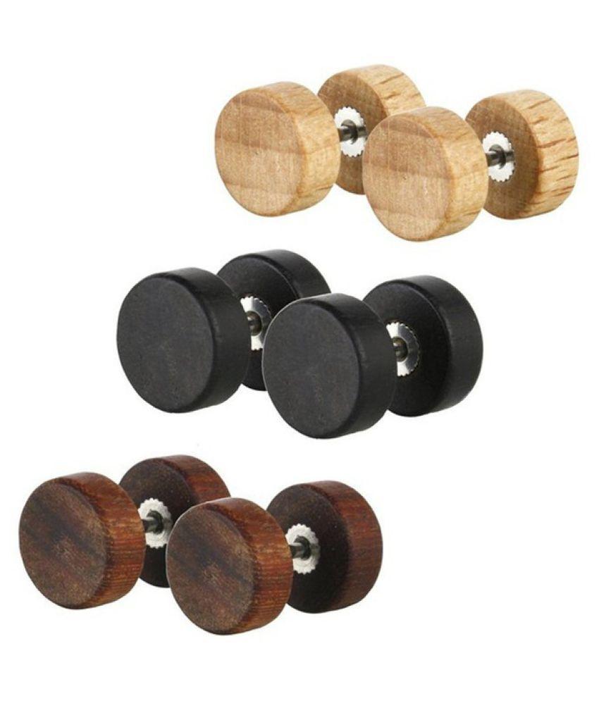 Fashion Natural Wooden Stainlee Steel Ear Studs Earings for Women Men Wood Black Brown Barbell Piercing Punk Earrings Stud