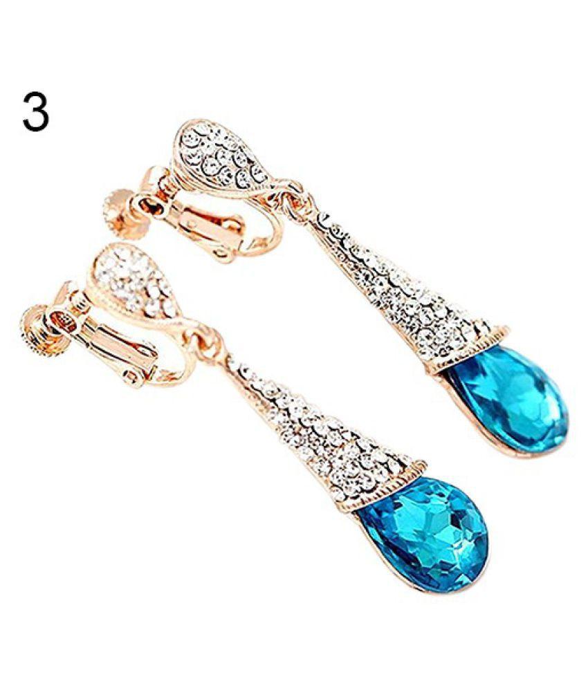 Ladies Women Elegant Waterdrop Crystal Cubic Zirconia Dangle Earrings