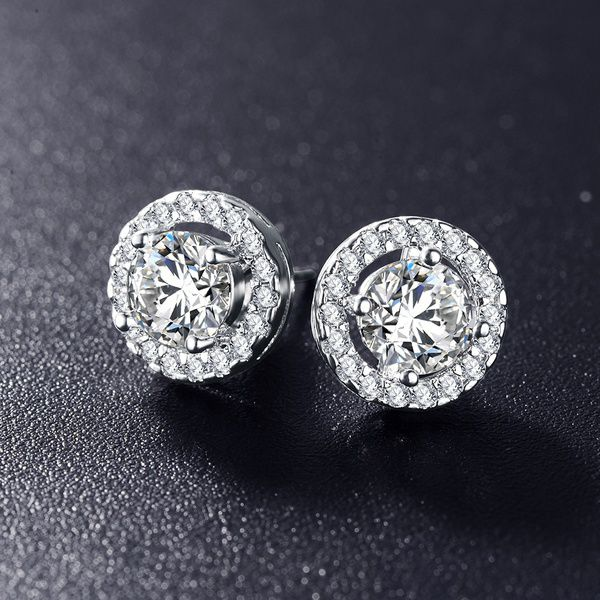 Luxury Double Circle Embrace Earrings Round Cubic Zirconia White Gold Plated Stud Earrings Brinco CER0002-B