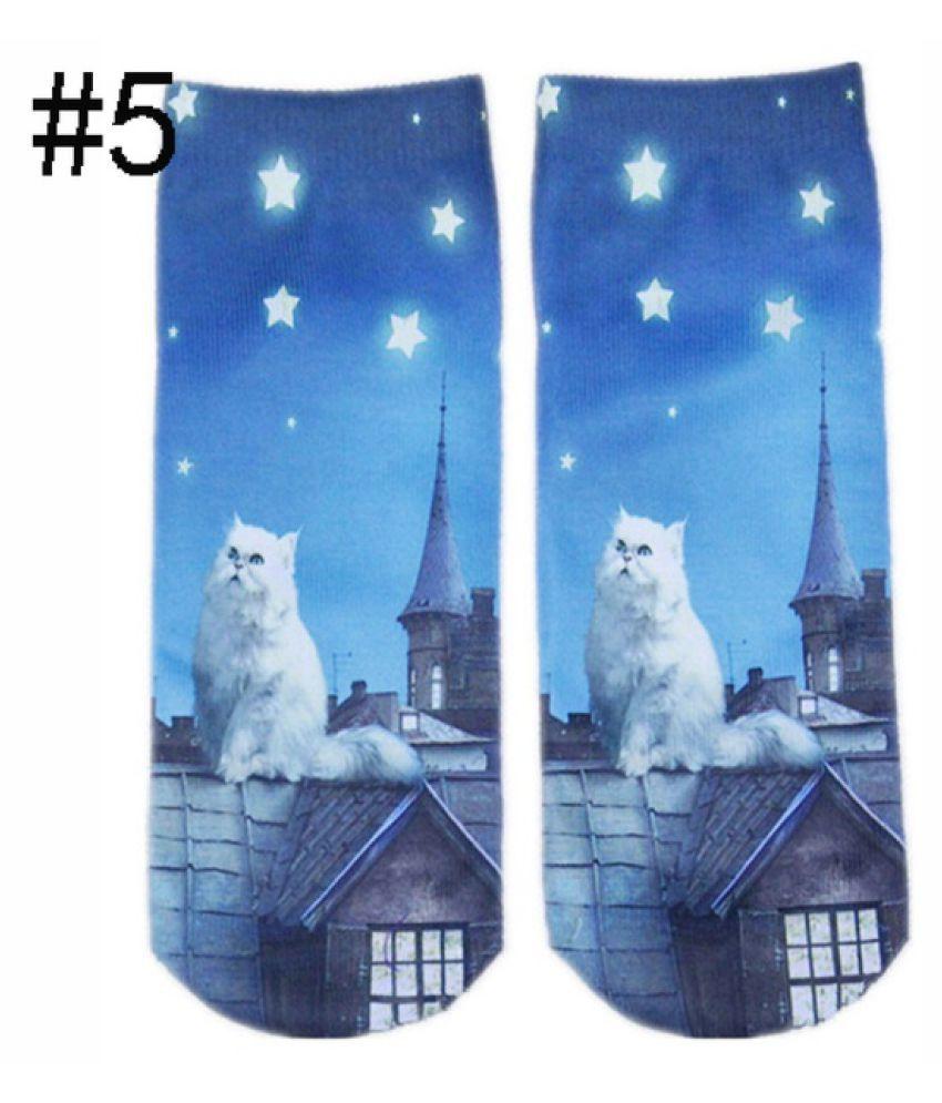 2 Pairs Men Women 3D Printed Animal Patterns Cute Cats Unisex Soft Cotton Socks Christmas Stockings