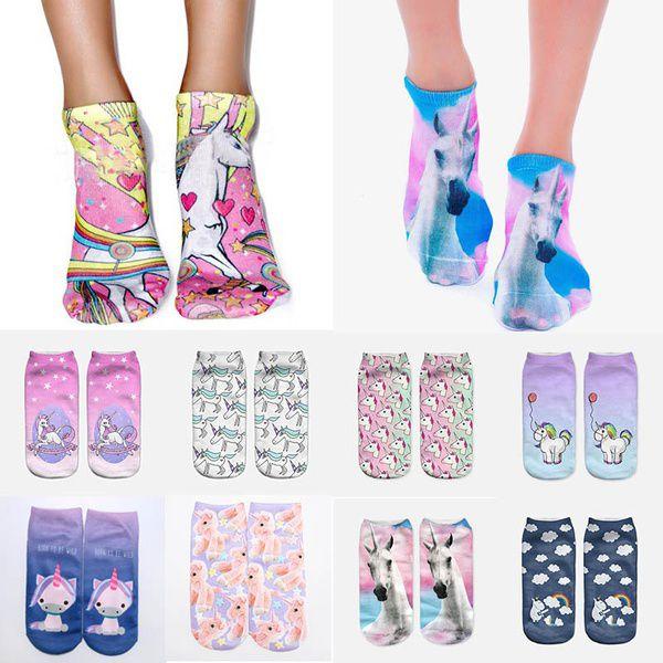 2 Pairs Unicorn 3D Print Cute Cartoon Socks Low Cut Ankle Women Boat Sock Christmas Gifts