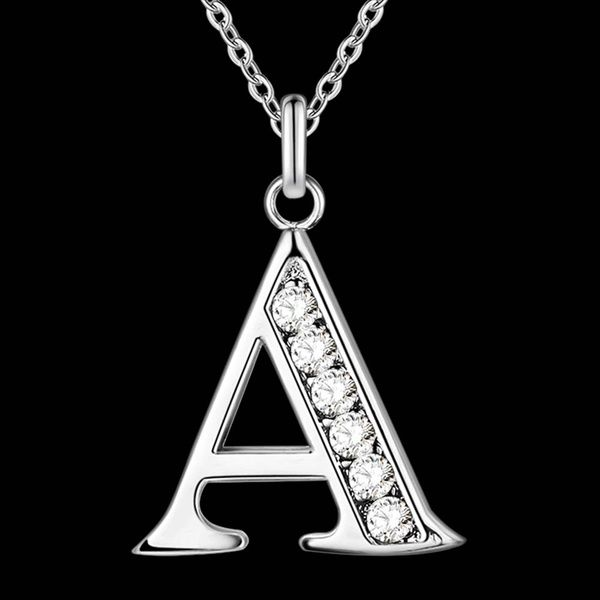 High Quality Uni Letters  A-Z  Silver Plated Necklace 925 Fashion Silver Crystal Jewelry Fashion Pendant Necklace