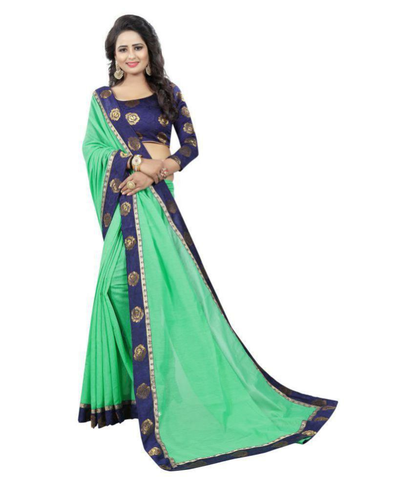 Laadki Designer Green and Blue Cotton Saree