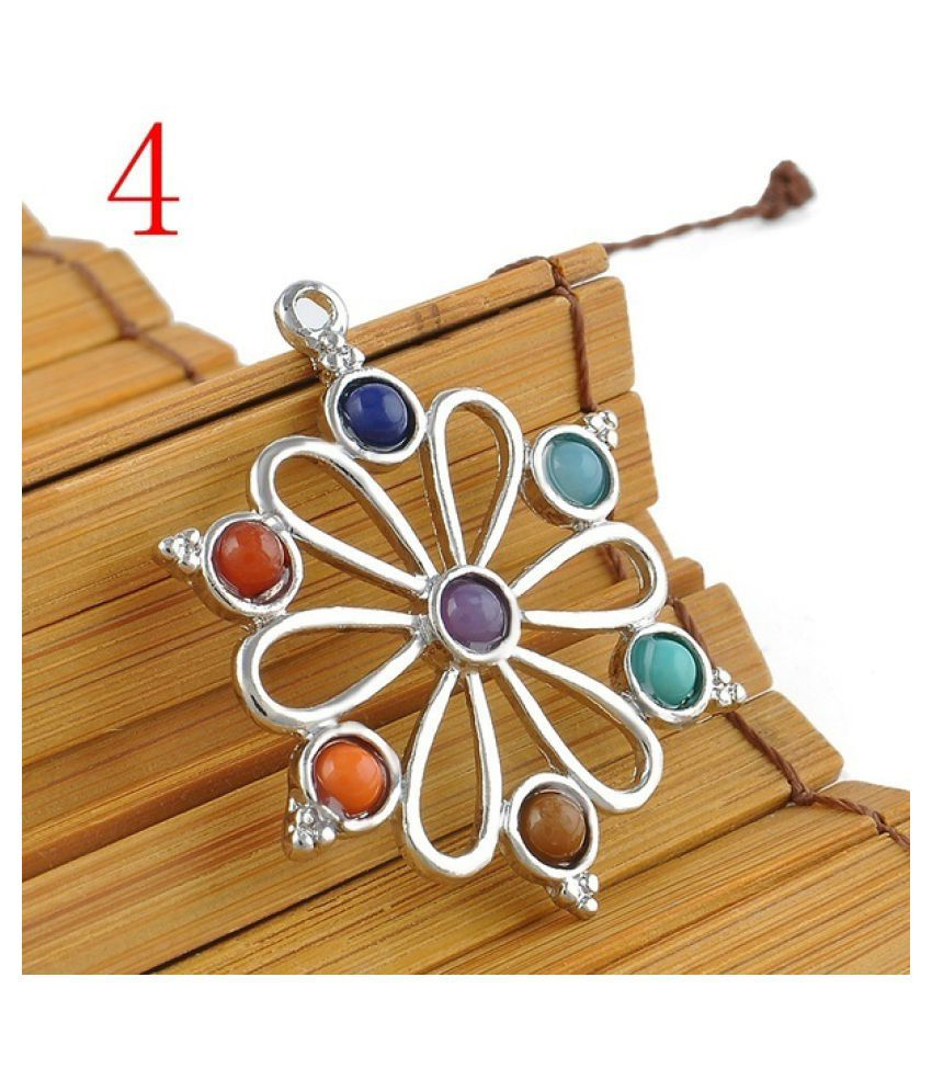 Natural Beads Point Chakra Healing Reiki Silver Pendant Chain Necklace