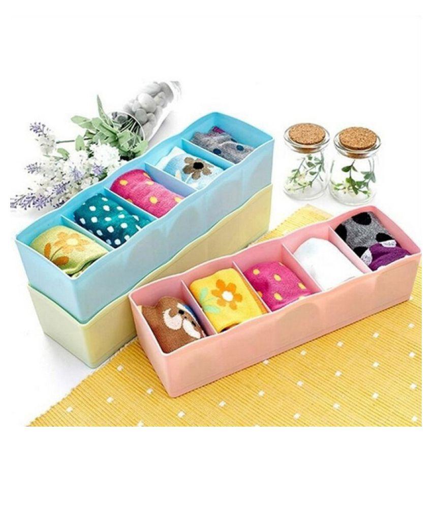 Rain Womens Fashion Household 5 Grid Multifunctional Plastic Drawer Storage Box Socks Underwear Bra Storage Box Fashion Home Supplies