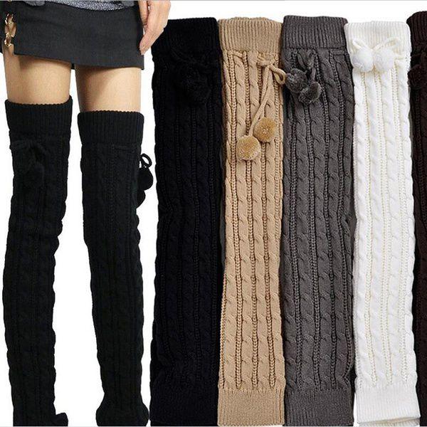 5f8882c4c71 ... Knee-socks Womens Girl s Knee High Socks Knit Crochet Winter Leg  Warmers Leggings Socks ...