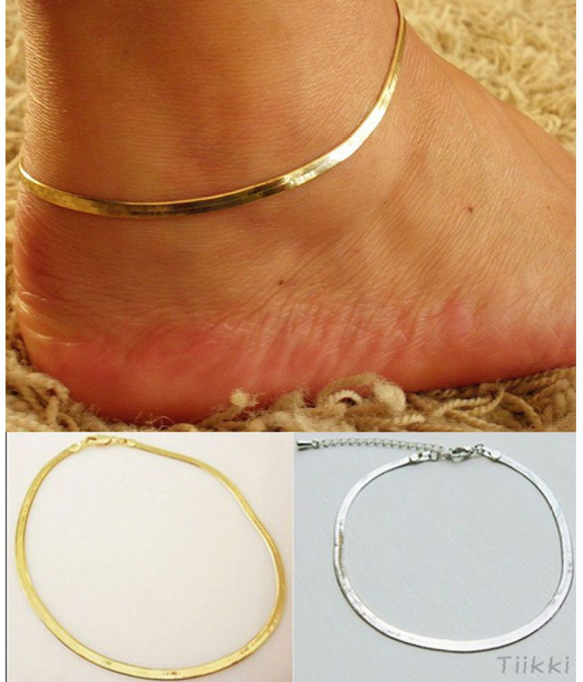 1pc Women Girls Silver/Gold Chain Ankle Bracelet Anklet Foot Jewelry Beach