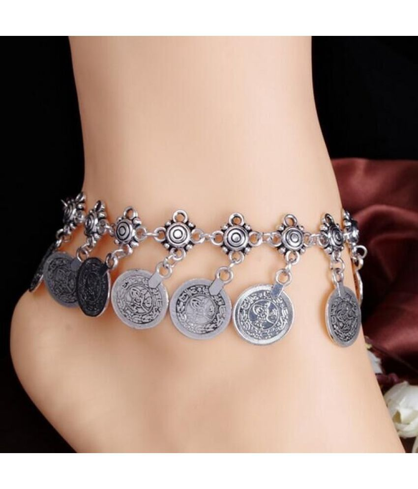 Fashion Bohemian Vintage Mysterious Coin Tassel Anklet Creative Silver Plated Chain Summer Beach Bracelet Jewelry