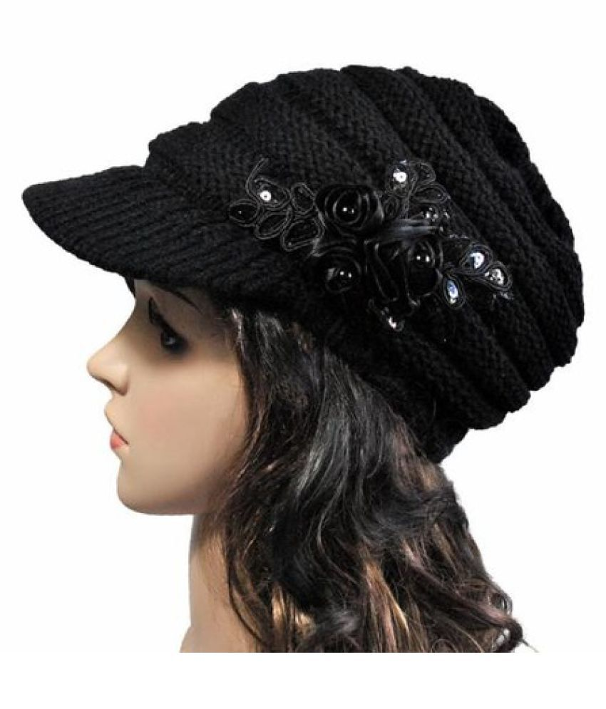 d58eb9cee6f Fashion Winter Women s Cable Knit Visor Hat With Flower Accent  Buy ...