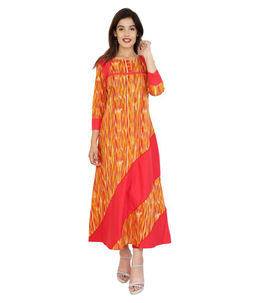 METRO FASHION Orange Cotton A-line Kurti