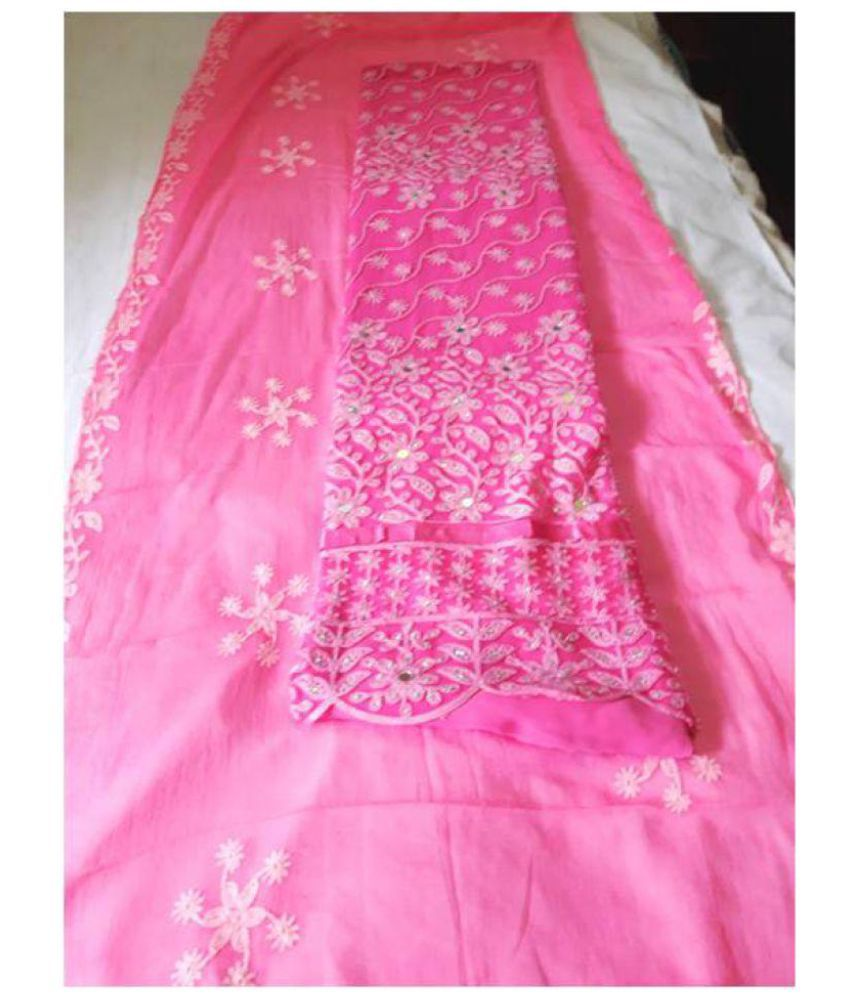 Vigneshwara Pink Net Dress Material