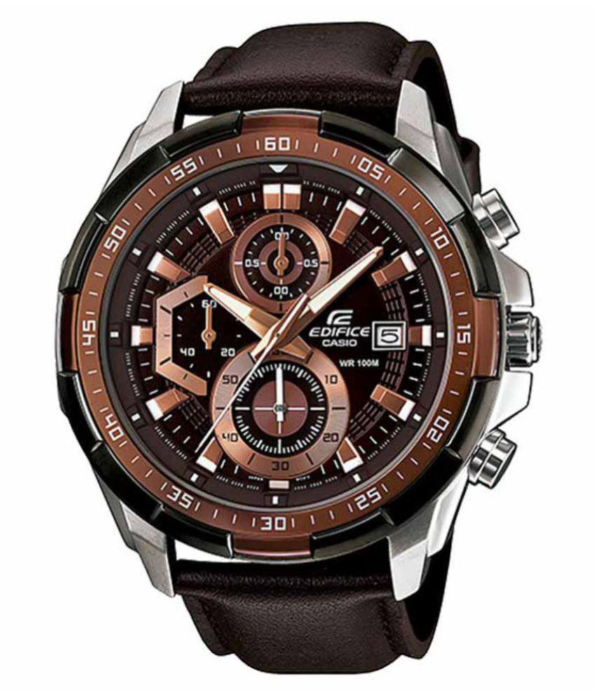 Men Fashion EX194 Brown Leather Strap Analog Watch