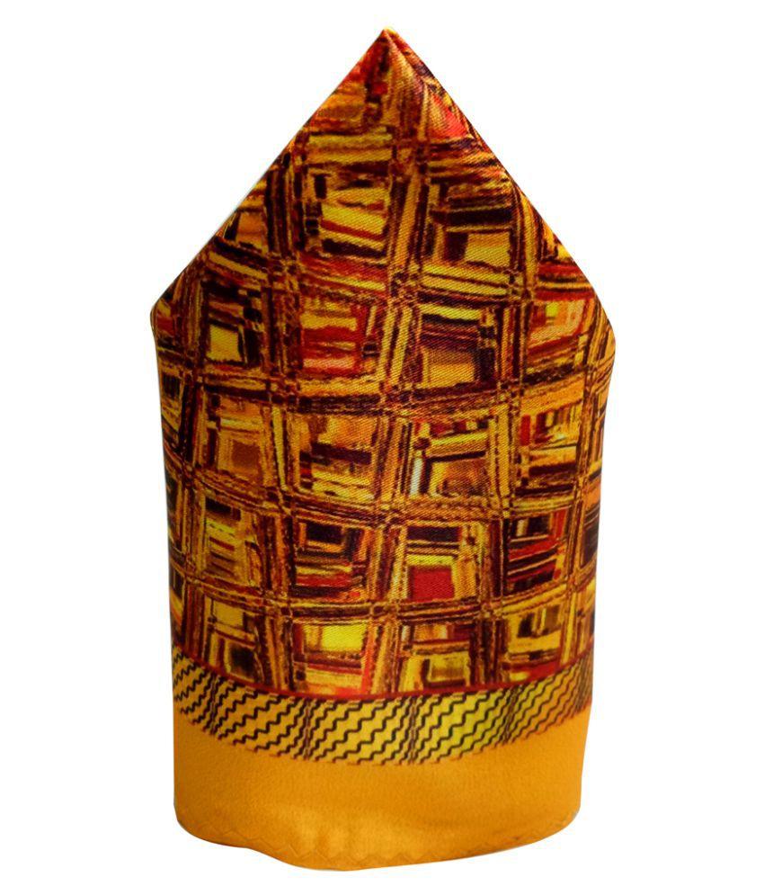Mentiezi Poly Silk Multicolor Printed Pocket Square with Yellow Color Border