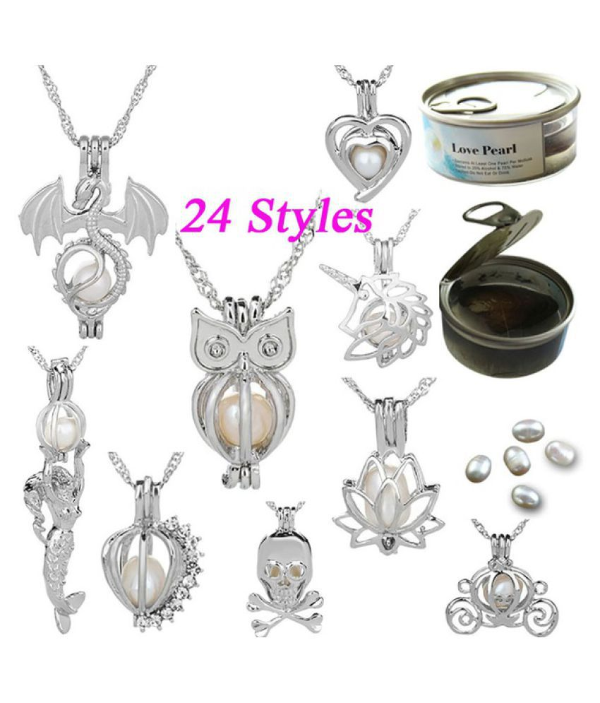 925 Silver Natural Freshwater Pearl Bead Cage Locket Pendant Necklace Girls Charm Necklace Jewelry Surprise Gifts For Women (24 Cages)
