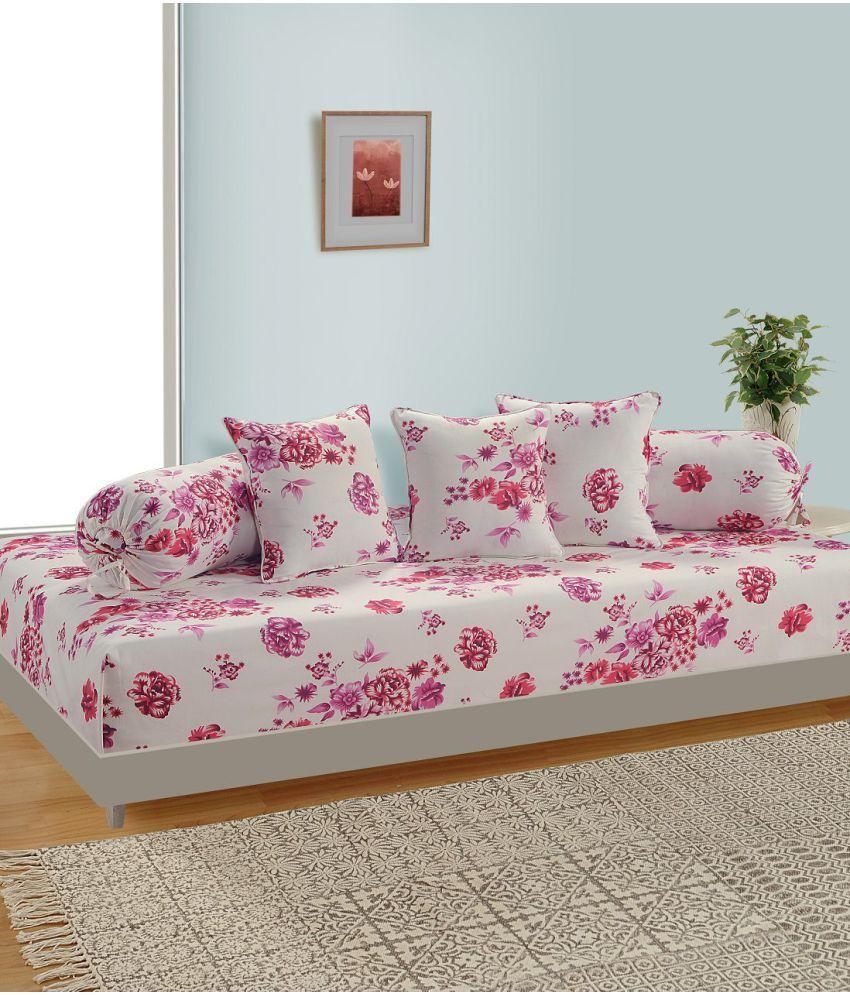 Swayam Cotton Off White Floral Diwan Set 6 Pcs