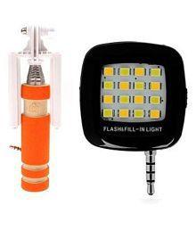 ShutterBugs Orange Aux Selfie stick with Flash light Combo